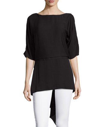 V-Back Asymmetric-Hem Top, Black