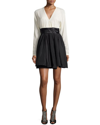Combo Dress with Pleated Waist, Chalk/Black