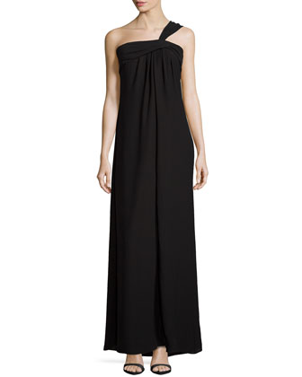 One-Shoulder Flowy Gown, Black