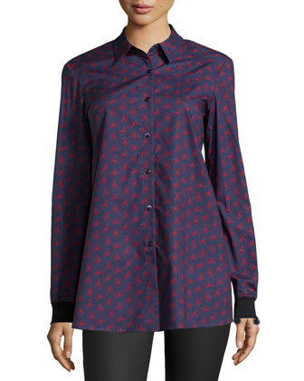 Long-Sleeve Tulip-Back Shirt, Navy Evil Tree