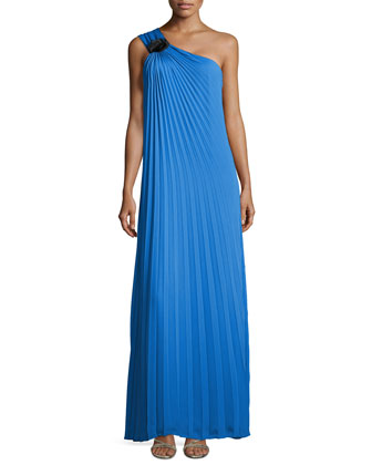 Pleated One-Shoulder Gown with Flower Detail, Aquamarine