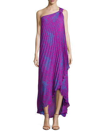 One-Shoulder Pleated Gown, Petunia/Cobalt