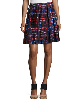 Pleated Plaid Skirt, Red Forest Poplin