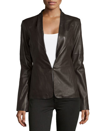 Knit-Panel Leather Blazer, Earth