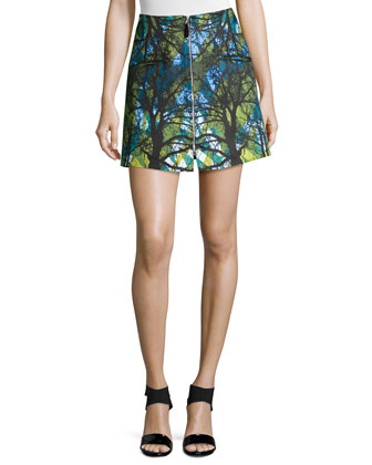 Zipper-Front Mini Skirt, Doppio Greenwoods