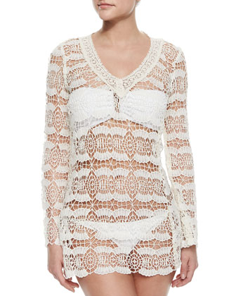 V-Neck Sheer Crochet Coverup