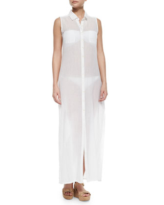 Sheer Sleeveless Voile Shirtdress Coverup
