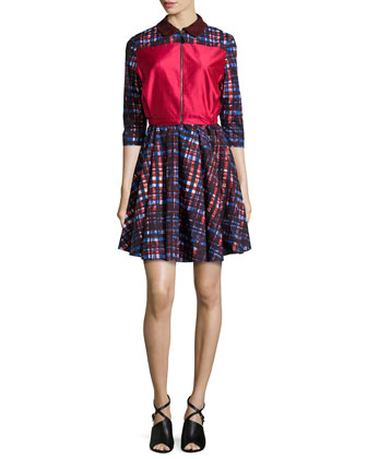 Pilot Three-Quarter Sleeve Dress, Red Mix