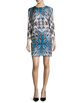 Jewel-Neck Printed Sheath Dress, Flake Twill