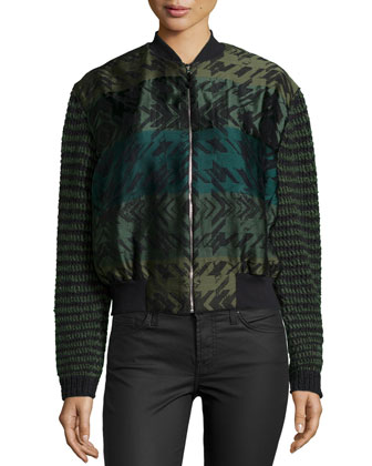 Long-Sleeve Bomber Jacket, Flake Twill