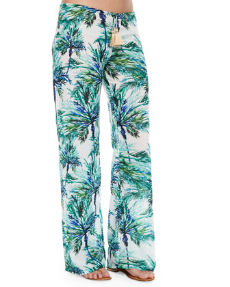 Carter Palm-Tree-Print Coverup Pants