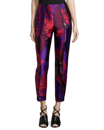 Slashed Drainpipe Cropped Pants, Red Gloom