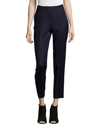 Slashed Drainpipe Pants, Navy