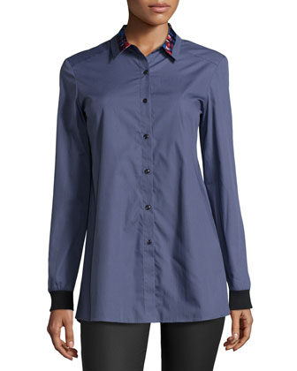 Long-Sleeve Tulip-Back Shirt, Steel Poplin