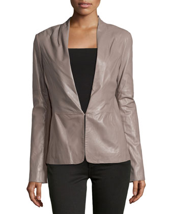 Knit-Panel Leather Blazer, Cinder