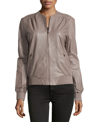 Leather Zip Jacket, Cinder