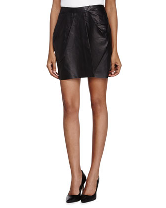 Pleated Leather Short Skirt, Black