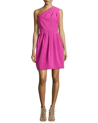 One-Shoulder Fit-and-Flare Dress, Petunia