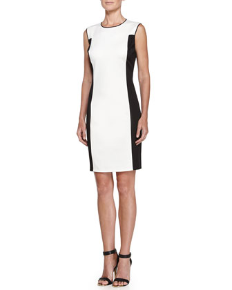 Colorblock Ponte Dress, Cream/Black