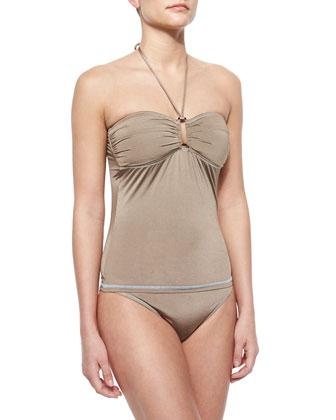Classic Stretch-Nylon Swim Bottom, Coconut Husk