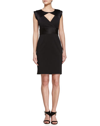 Cutout Detail Ponte Dress, Black
