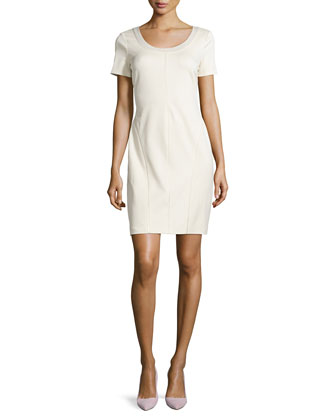 Sheath Dress with Trim Detail, Cream