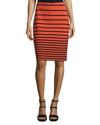 Stripe Pencil Skirt, Dark Fire/Black