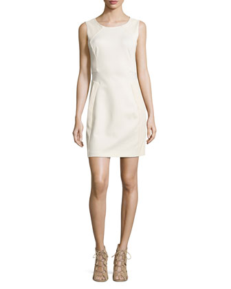 Ponte Dress with Leather Trim, Cream