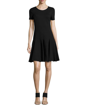 Ponte Fit-and-Flare Dress, Black