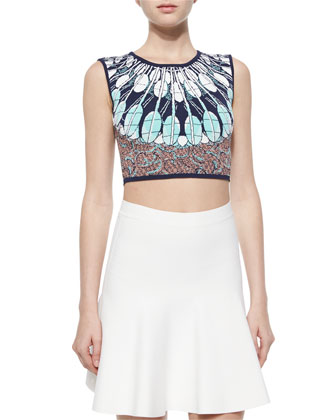 Mayim Knit Multipattern Crop Top & Ingrid A-Line Stretch-Knit Skirt