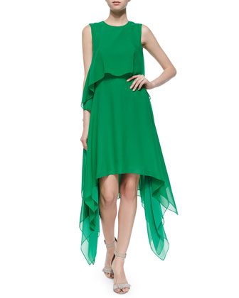 Marilee Tiered Silk Dress, Light Kelly Green