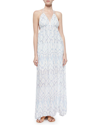 Kamala Halter Maxi Dress, Gardenia/White