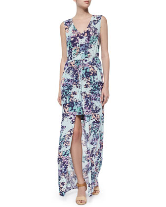 Taren Floral Maxi Dress, Light Azure/Multicolor