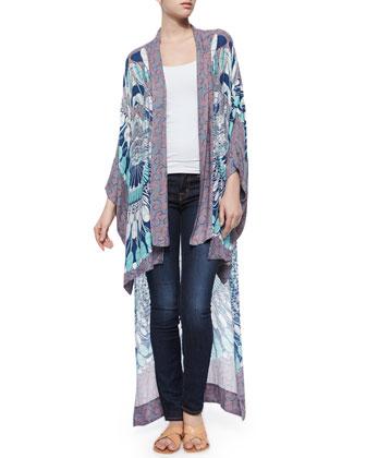 Multipattern Tildie Kimono Cardigan, Ink/Multicolor