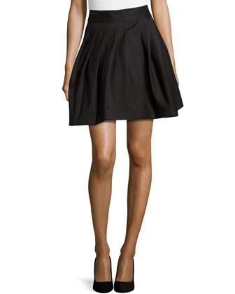 Pleated Bell Skirt, Black