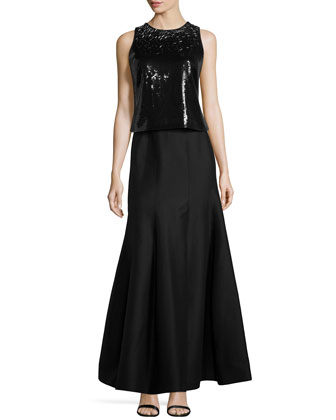 Beaded Two-Piece Gown, Black