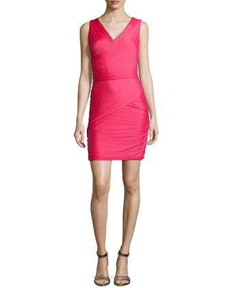 Pleated Mini Dress, Fuchsia