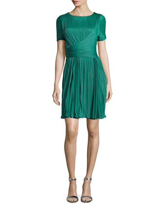 Pleated Short-Sleeve Dress, Emerald