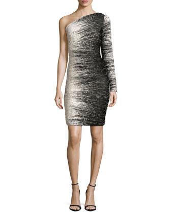 One-Shoulder Windlines Dress, Bone/Black