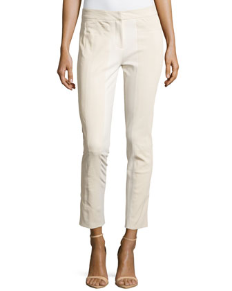 Skinny Ponte Trim Pants, Cream