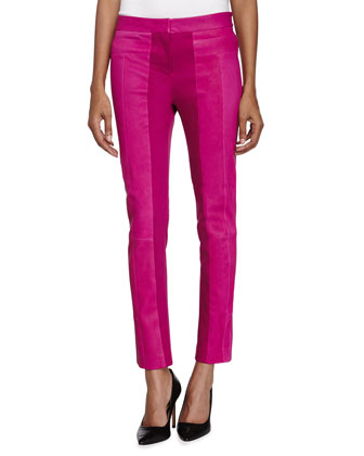 Ponte-Trim Leather Pants, Bright Magenta
