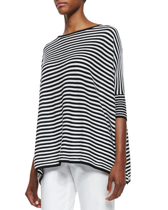 Half-Sleeve Striped Top