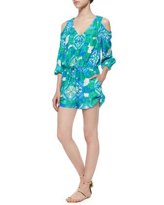 3/4-Sleeve Cold-Shoulder Printed Short Jumpsuit