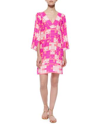 3/4-Sleeve Maze-Print Dress