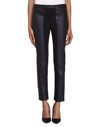 Ponte-Trim Leather Pants, Black/Indigo