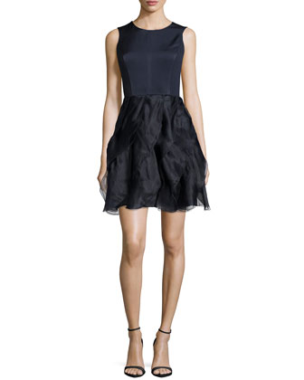 Ruffled-Skirt Dress, Navy