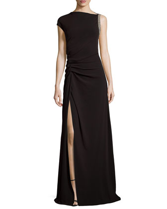 Ruched-Waist Gown with Slit, Black