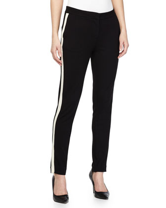 Two-Tone Skinny Pants, Black/Bone