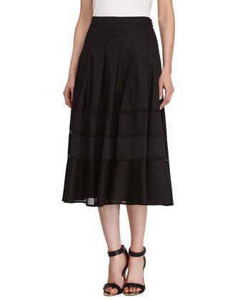 Voile Midi Skirt, Black