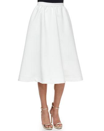 Luisa Full Tea-Length Skirt, White